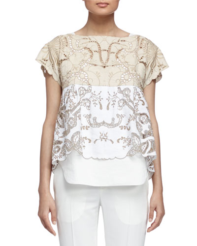 Embroidered Contrast Lace Top
