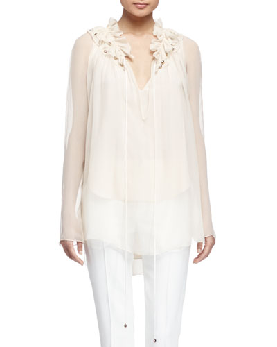 Silk Ruffle-Neck Long-Sleeve Top, Vanilla