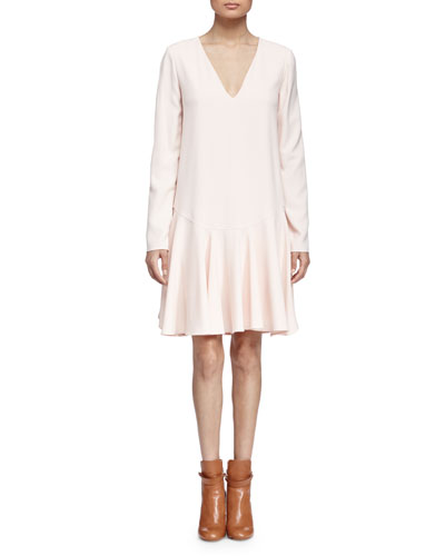 V-Neck Flounce-Hem Dress, Pale Pink