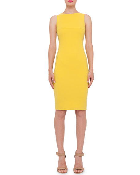 Sleeveless Wool-Crepe Sheath Dress, Tulip
