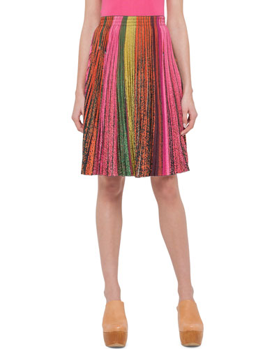 Pleated Crepe A-Line Skirt, Multi