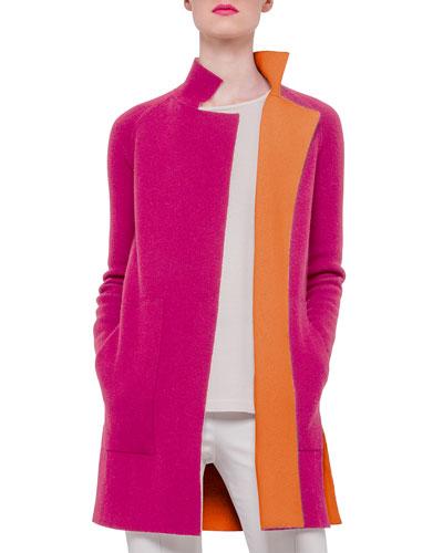 Double-Face Reversible Cashmere Coat, Rose/Zinnia