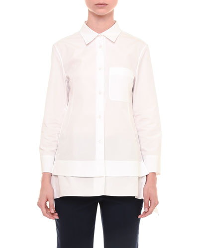 Long-Sleeve Peplum Button-Down Shirt, White