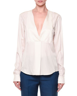 Via Crepe Front-Paneled Blouse, Ivory