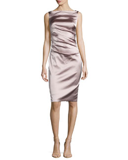 Dowina Sleeveless Ruched Satin Cocktail Dress, Marble