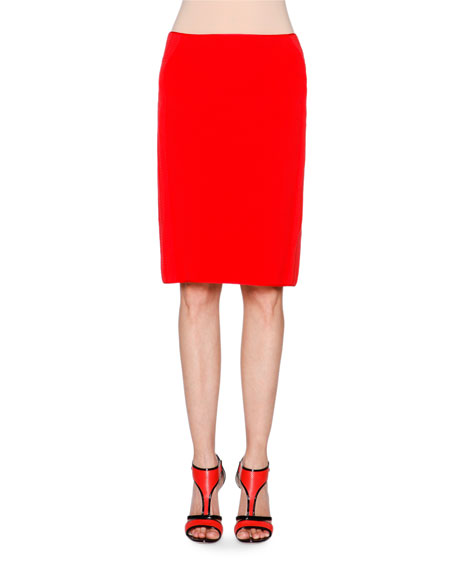 New Ottoman Pencil Skirt, Coral Red