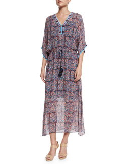 Beaded Paisley-Print Georgette Dress, Purple