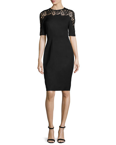 Short-Sleeve Lace-Inset Sheath Dress, Black