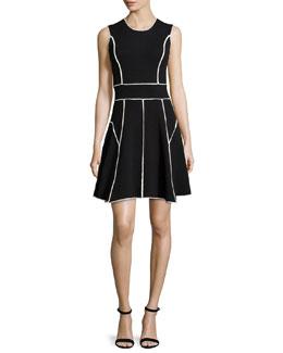 Contrast-Seam Fit-&-Flare Dress, Black/Ivory