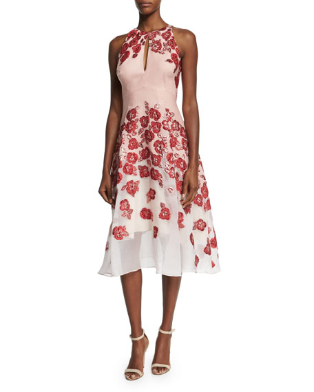 Floral-Embroidered Halter-Neck Dress, Pink