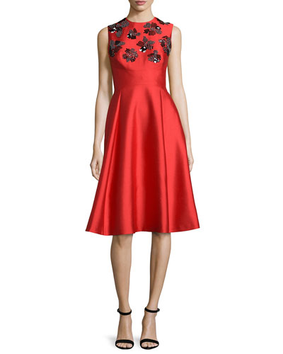 Embroidered Shantung Sleeveless Dress, Red