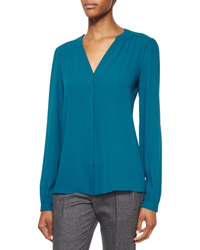 Split-Neck Long-Sleeve Blouse, Peacock