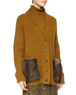 Fur-Pocket Cashmere Long Cardigan