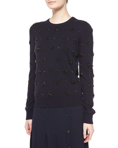 Stretch-Cashmere Long-Sleeve Embellished Sweater, Navy