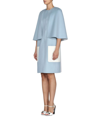 Double-Wool Cape Coat w/ Contrast Pockets, Light Blue