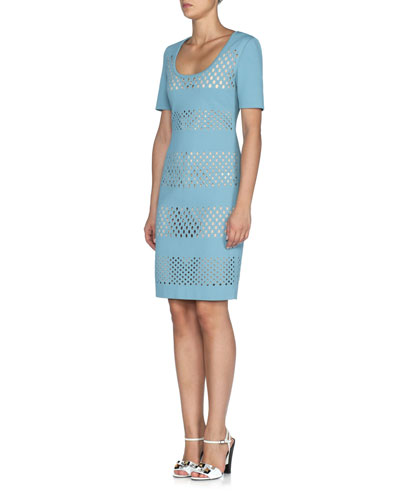Lace-Effect Short-Sleeve Sheath Dress, Lagoon