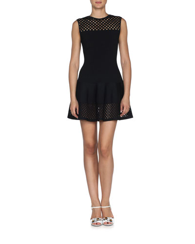 Lace-Effect Sleeveless Fit-and-Flare Dress, Black