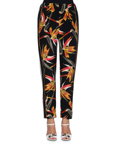 Bird of Paradise-Print Silk Cady Pants