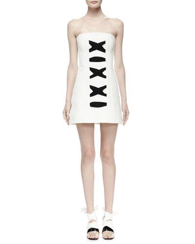 Strapless Stitch-Front Cady Dress, Black/White
