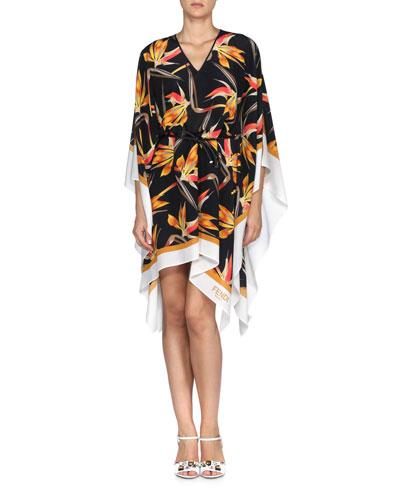 Bird of Paradise-Print Belted Handkerchief Caftan