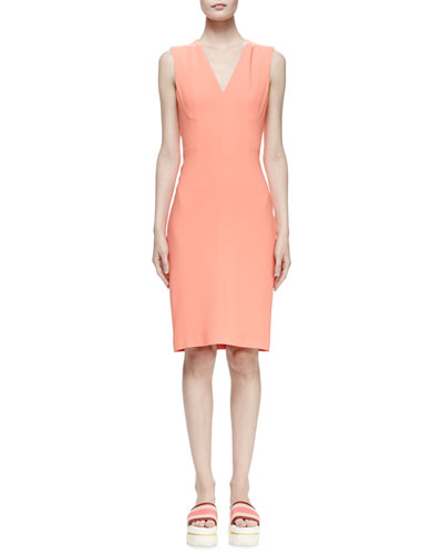 Simona Sleeveless Cady Dress, Peony