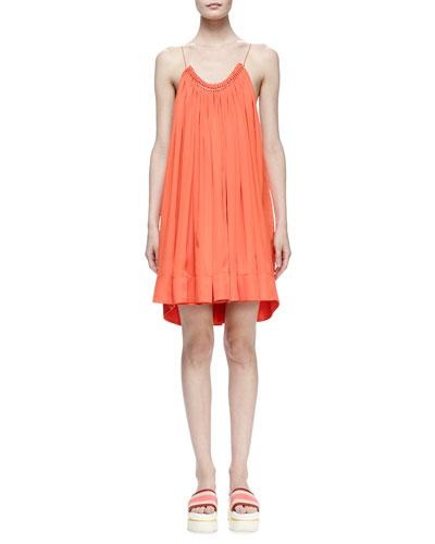 Gathered Scoop-Neck Trapeze Dress, Poppy
