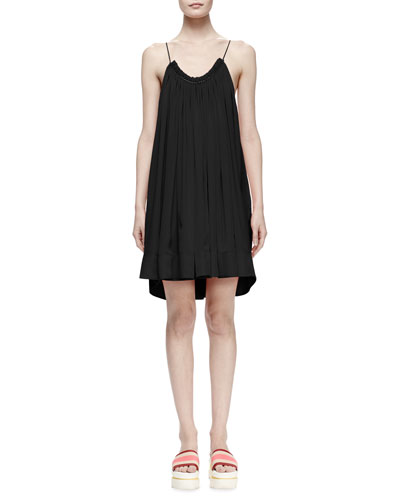 Gathered Scoop-Neck Silk Trapeze Dress, Black