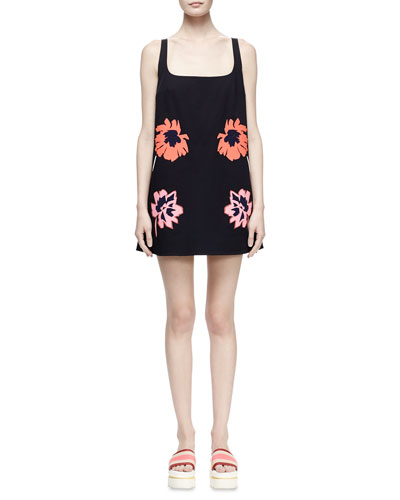 Floral-Applique Square-Neck Mini Dress, Black