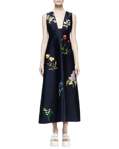 Kaitlyn Floral-Embroidered Shantung Midi Dress, Ink
