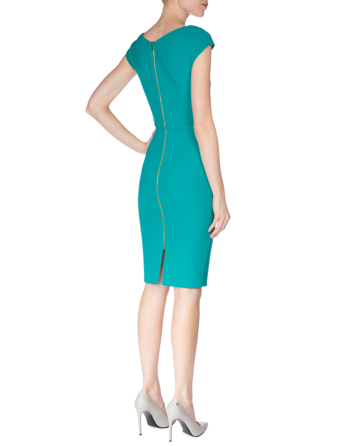 Rm by Roland Mouret Short-Sleeve Pleat-Front Wool Crepe