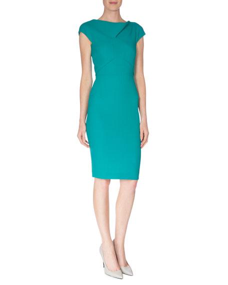 Zonda Wool-Crepe Sheath Dress, Sea Green