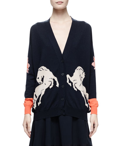 Horse Intarsia Knit Cardigan, Midnight