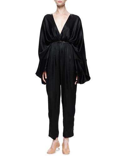 Gathered Satin Dolman-Sleeve Jumpsuit, Black