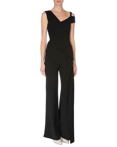 Capsule Collection Off-The-Shoulder Straight-Leg Jumpsuit, Black