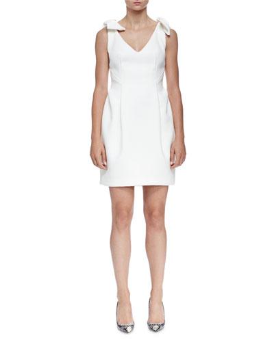 Bow-Shoulder V-Neck Cocktail Dress