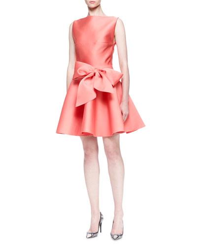 Bow-Tie Duchess Satin Party Dress