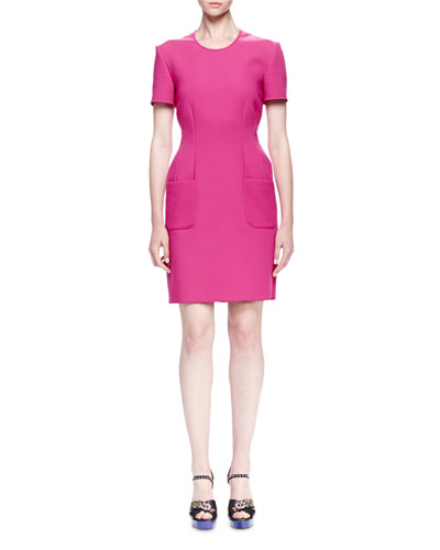 Stretch-Cotton Short-Sleeve Sheath Dress, Fuchsia