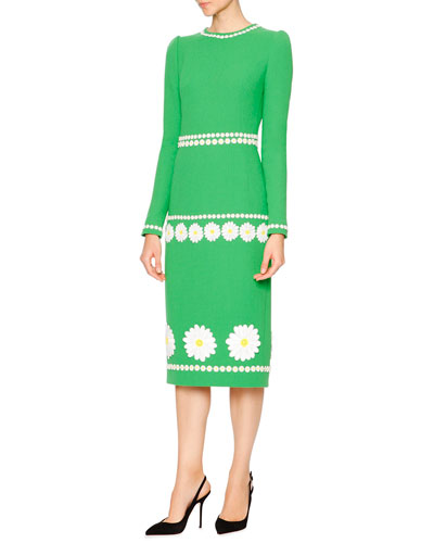 Long-Sleeve Daisy Wool-Crepe Dress, Grass Green