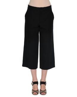 Twill Cropped Wide-Leg Culottes