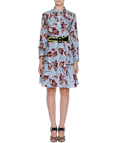 Floral-Print Cotton Peplum Shirtdress