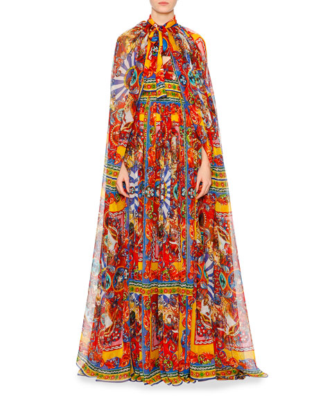 Carretto Print Silk Floor Length Cape Red Blue Yellow
