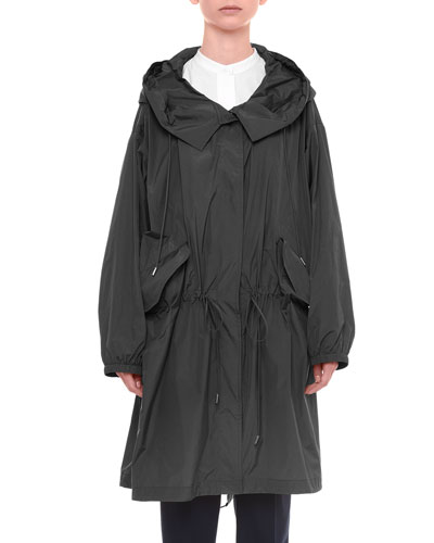 Taffeta Drawstring Mid-Length Jacket, Black