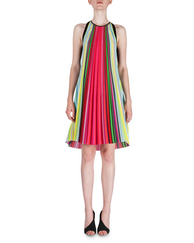 Rainbow-Pleated Swing Dress