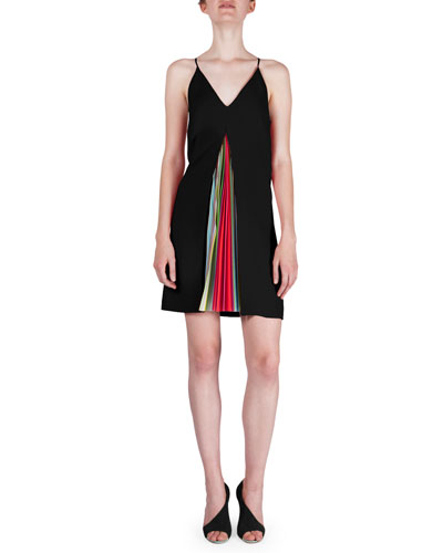 Rainbow-Pleated Crepe Swing Dress, Black