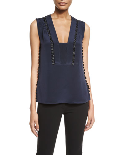 Crepe Guipure-Detail Sleeveless Top, Navy/Black