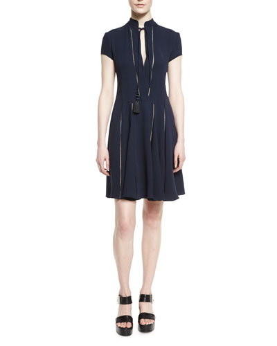 Silk Crepe de Chine Short-Sleeve Dress, Navy
