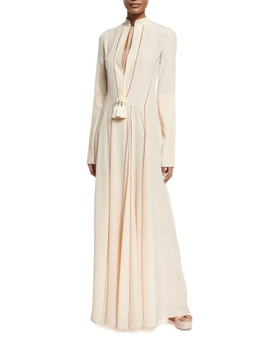 Crepe de Chine Long-Sleeve Tassel Gown
