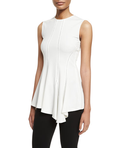 Sleeveless Asymmetric Ruffle-Hem Top, White