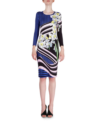 Floral Wave-Striped Jersey Dress, Blue