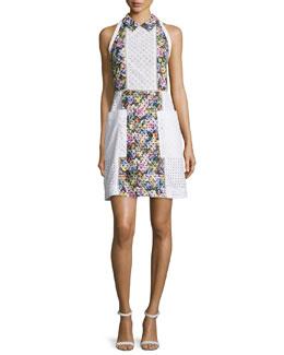 Patchwork Eyelet A-Line Dress, White